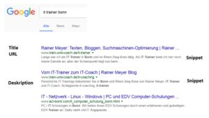Darstellung in Suchergebnissen