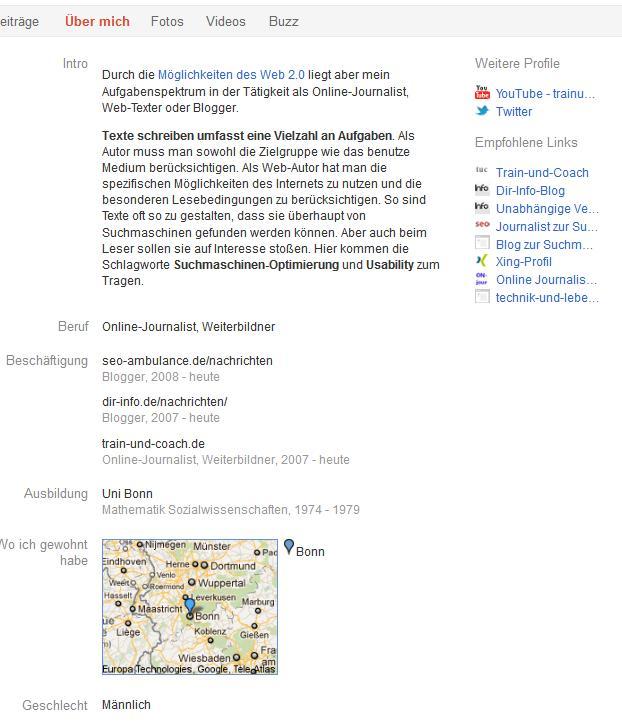 Google Plus Profil Suchmaschinen Optimierung