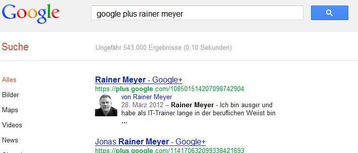 Finden des Google+Profils