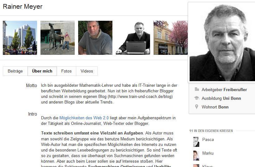 Google+Profil gestalten