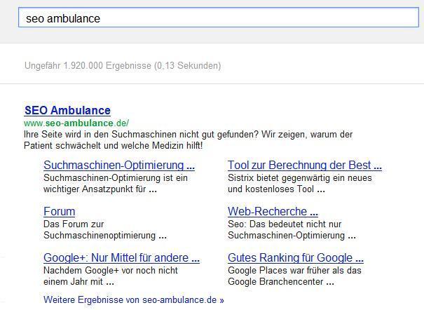 google-sitelinks-werden-angezeigt