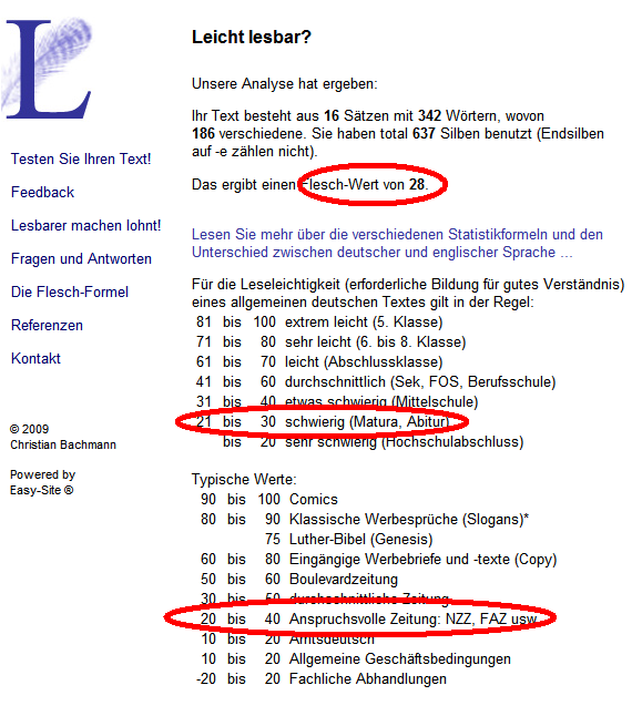 Ausriss der Website mit dem Flesch-Berechnungen zu meinen Text