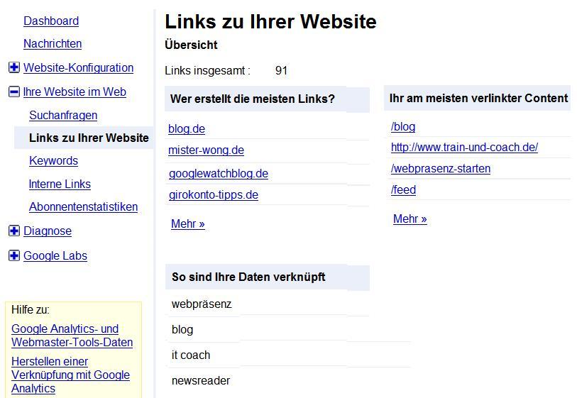 externe Links Google Webmaster Tools