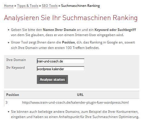 Rank-Monitoring auf Ranking Check