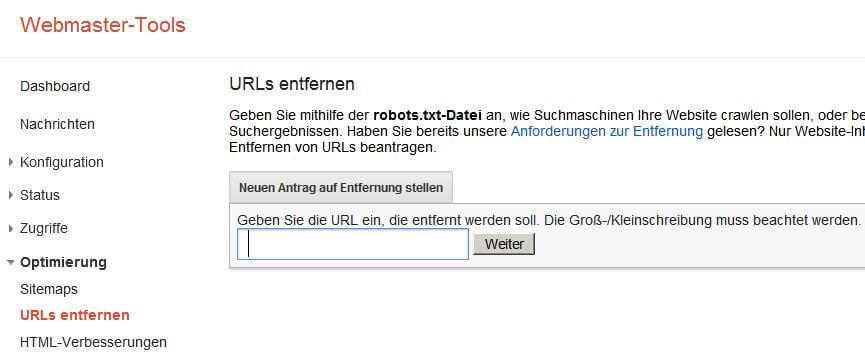Webmaster Tools Fehler beseitigen 1